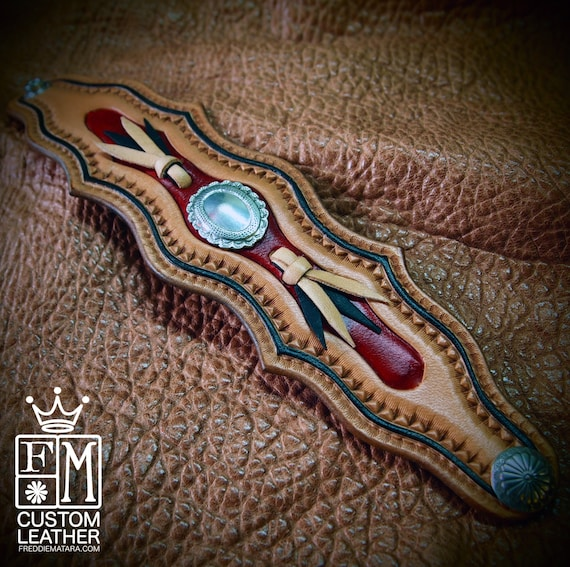 Leather cuff wristband Native Western style hand tooled with kangaroo lace and Conchos handmade for YOU in USA by Freddie Matara