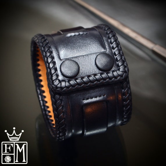 Black Leather Cuff bracelet: Tooled and laced with leather snaps! Hand made in New York!