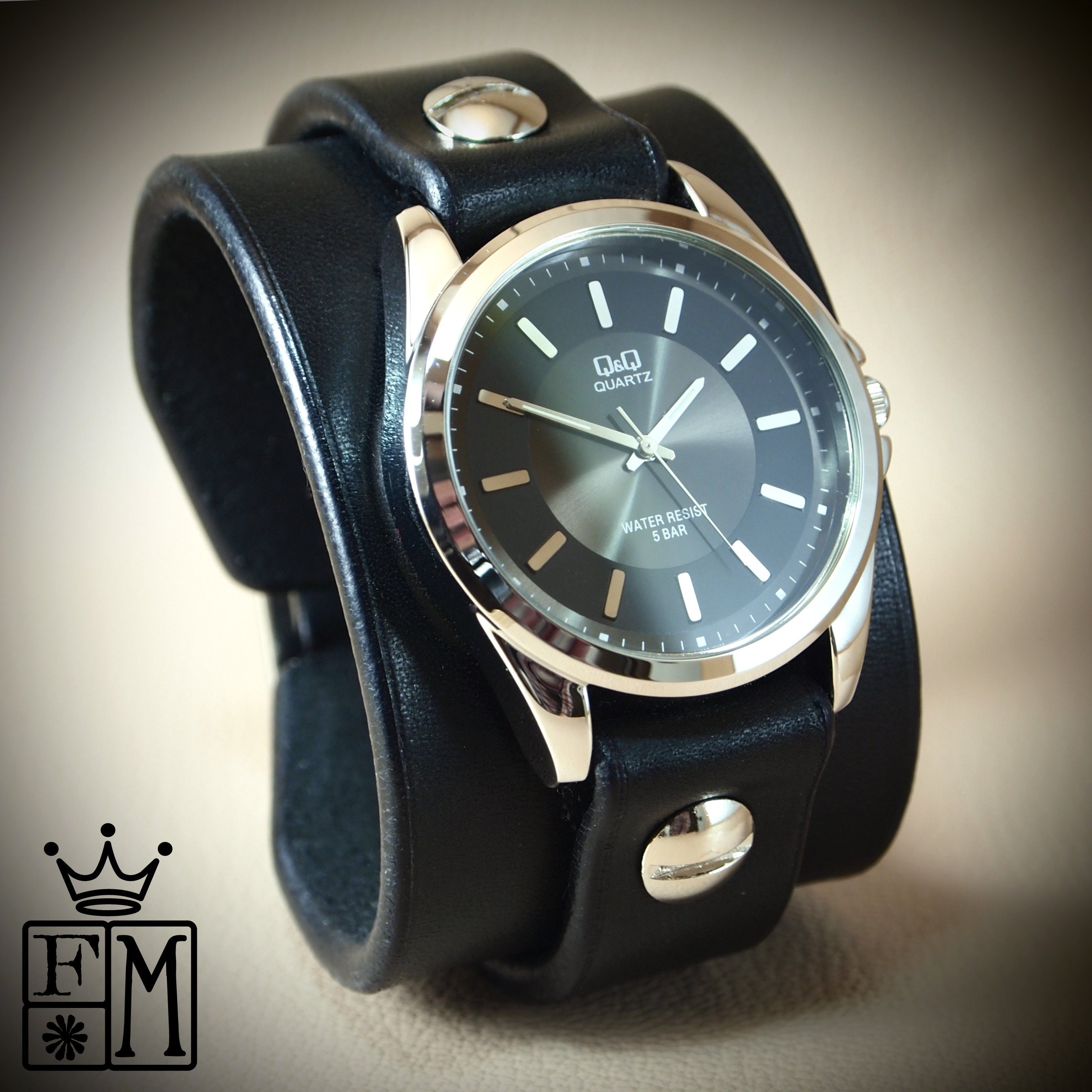 367e84604 Black Leather cuff Watch : Vintage style bridle leather, Classic cuff style!
