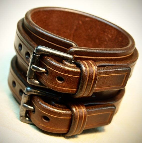 Leather cuff Bracelet Brown bridle leather Double strapped and scribed Detailing Custom made in NY for YOU by Freddie Matara!