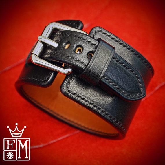 Black Leather Cuff Watchband : Elevated craft hand made ROCKSTAR watch Bracelet. Hand made in New York