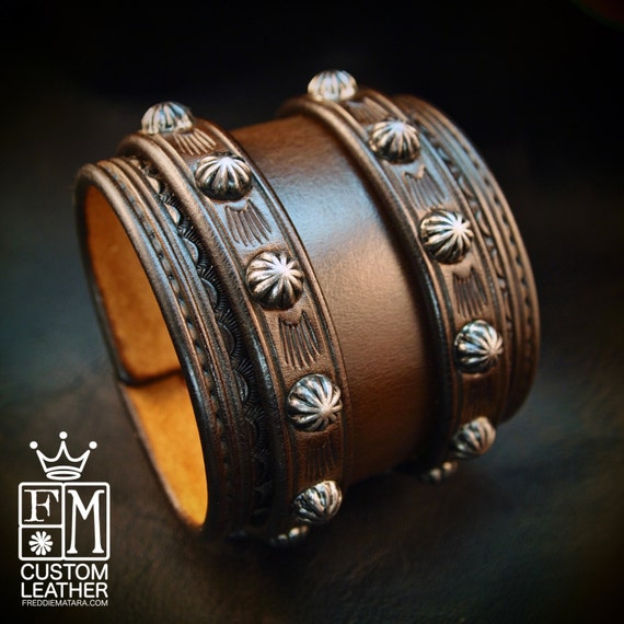Leather Wrist Cuff Saddle brown Traditional American Cowboy ROCKSTAR Bracelet made for YOU in USA by Freddie Matara