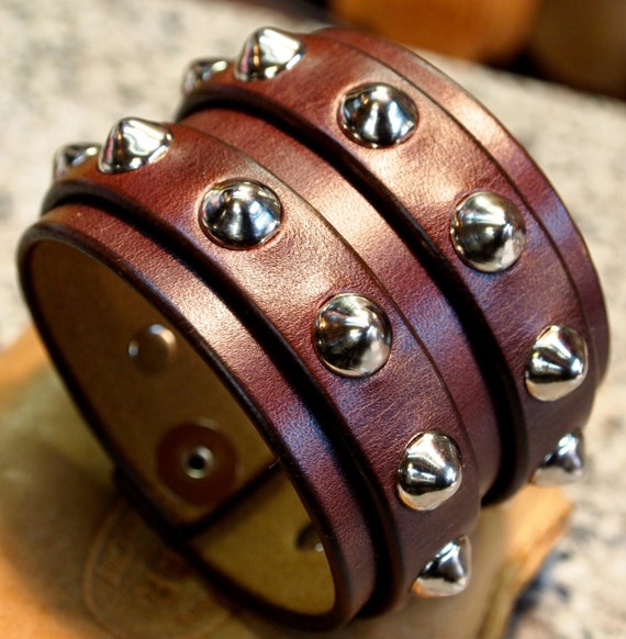 Leather Wrist Cuff smooth spikes mahogany Brown 2 strap bracelet wristband handmade for YOU in NYC by Freddie Matara!