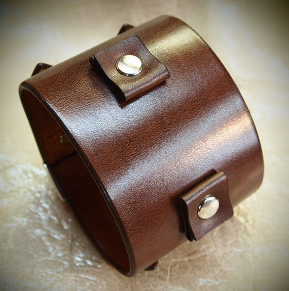 Brown Leather watch cuff : Best quality, Brown Depp style watchband bracelet. Hand Made in New York!