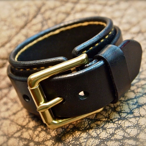 Leather cuff Bracelet Black with Gold hand stitching- Custom crafted for YOU in USA!