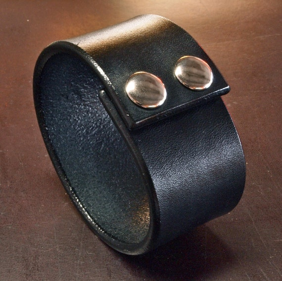 Leather cuff bracelet Black Bridle Custom made for YOU Leather wristband in USA by Freddie Matara