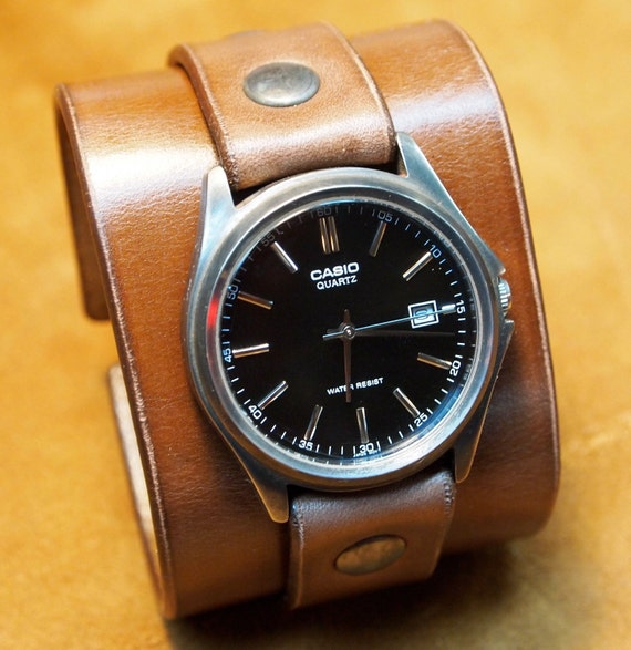 Leather cuff watch Brown wristband Unisex vintage wristwatch Nathan Drake style Uncharted 2 Handmade for YOU in USA by Freddie Matara!