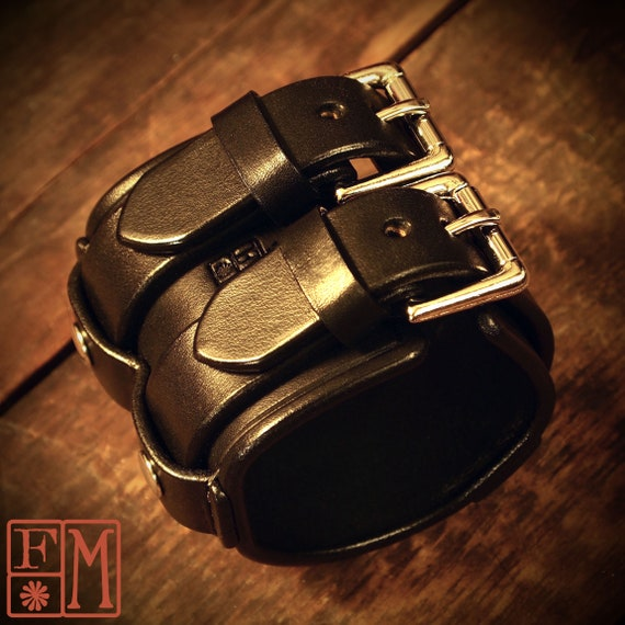 """Leather cuff Bracelet- Black leather wristband 2.5"""" wide Custom made for YOU in New York by Freddie Matara"""