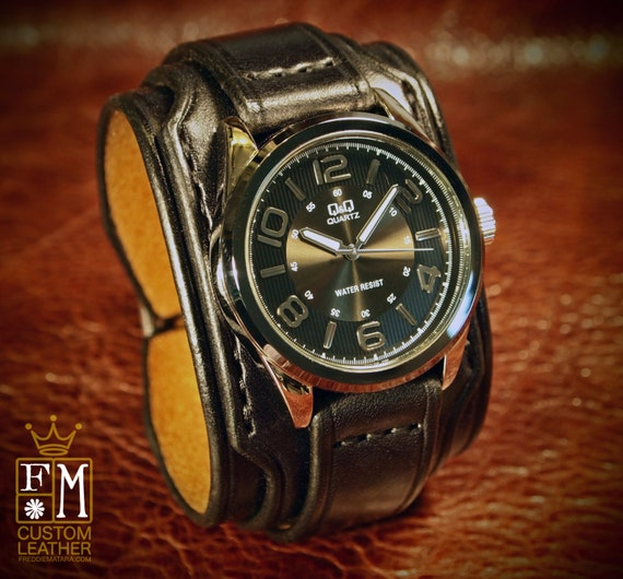 """Leather cuff watch Slick Black vintage style 2"""" Wide layered wristband bracelet made in USA for YOU by Freddie Matara!"""