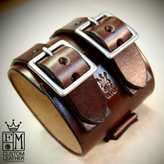 Leather cuff Bracelet Brown watchband Vintage Johnny Depp style wristband Handmade for YOU in USA by Freddie Matara