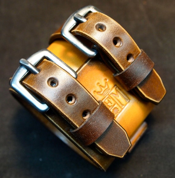 Leather Cuff watchband bracelet Depp style Distressed hand aged in New York