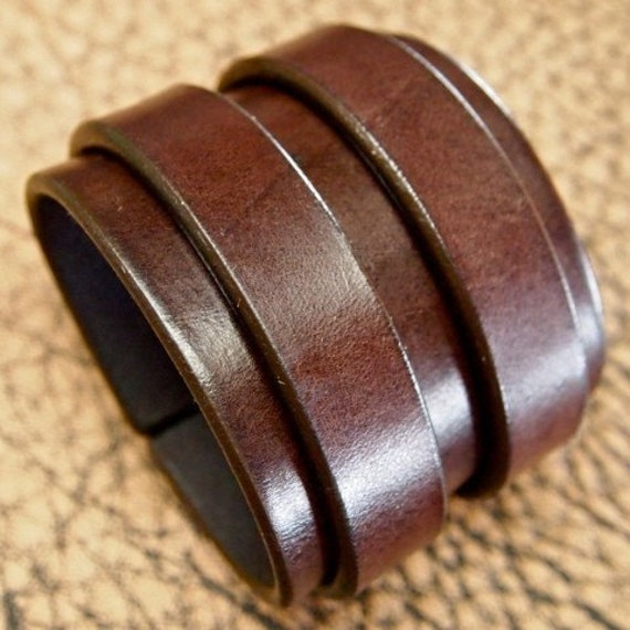 """2.5"""" wide Double strap Rich brown bridle Leather cuff"""