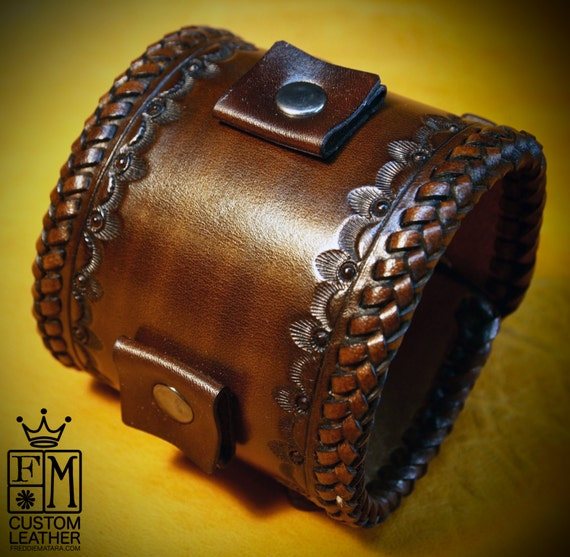 Brown Leather watchband cuff Bracelet :  Vintage cowboy style with hand braided edges! Finest quality Made in New York!