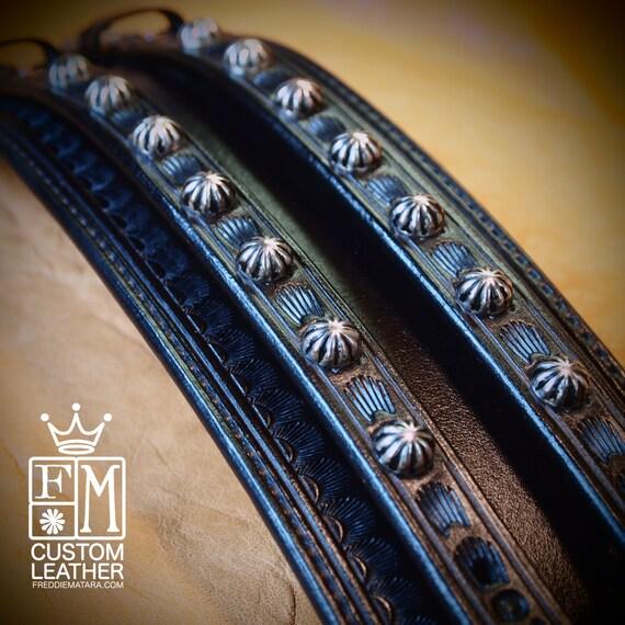 Leather Wrist Cuff Traditional American Black wristband COWBOY Rockstar Vintage Old West Bracelet Handmade for YOU in USA by Freddie Matara!