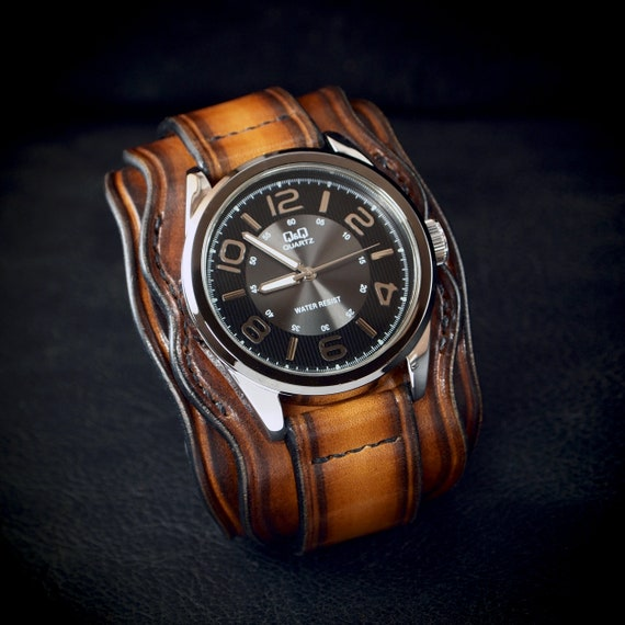 Leather cuff watch: Rich Western sunburst,Vegetable tanned leather!