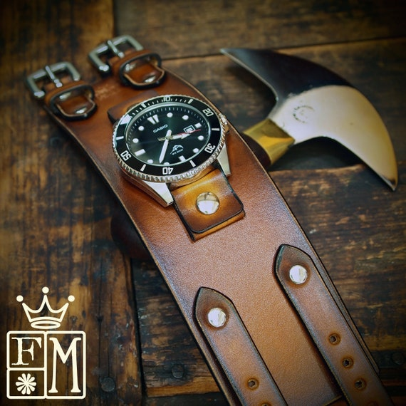 Men's Wrist Watch, Leather Watch, Leather Cuff Watch, steampunk watch, Bracelet Watch, Leather watch band, Brown watch for men. Made In NY!