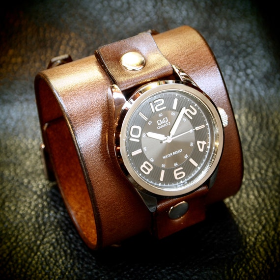 Leather cuff watch Brown vintage style leather cuff bracelet Best quality Made for YOU in USA by Freddie Matara!