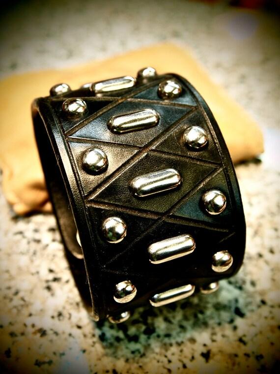 Leather cuff Bracelet Custom Made Black wristband  Studded Harlequin diamonds Made for YOU in USA by Freddie Matara