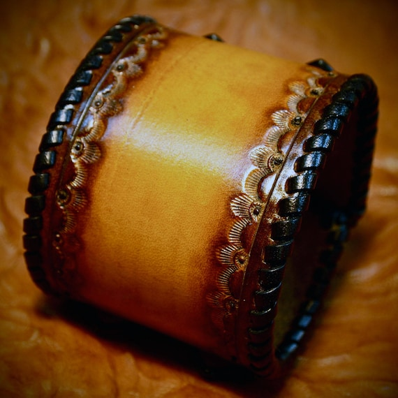 Leather Wristband cuff bracelet Custom Brown sunburst Hand stamped and Laced Made for YOU in USA by Freddie Matara