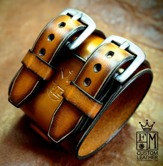 "Leather cuff bracelet sunburst double strap, 2.25"" wide"