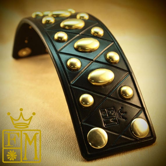 Black Leather cuff Bracelet : American bridle leather Harlequin pattern with Brass spots. Custom Made for YOU!