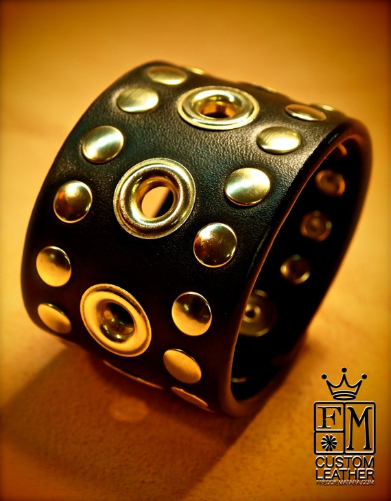 Black Leather cuff Bracelet : Brass studs and grommets. Custom Made for YOU in New York!