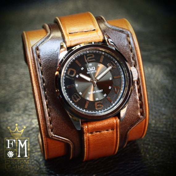 Brown Leather cuff watch : Vintage 2 tone style watch cuff. Wide layered Refined quality Wristwatch. Handmade in New York USA