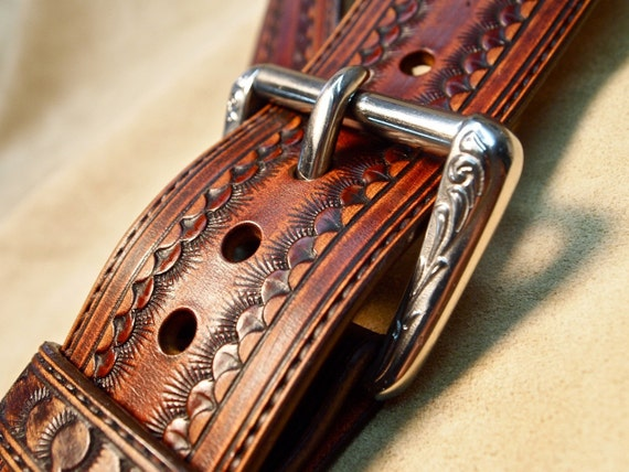 Leather guitar strap Brown Custom Western Vintage Star Hand tooled Fine Workmanship Handmade for YOU in USA by Freddie Matara!