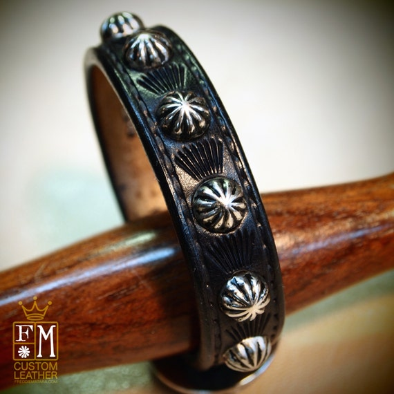 Leather bracelet cuff Black Lean and Sexy Cowboy western style made for YOU in Brooklyn New York!