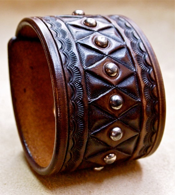 Leather cuff bracelet Brown American Cowboy King Vintage Hand tooled Handcrafted for YOU in USA by Freddie Matara!