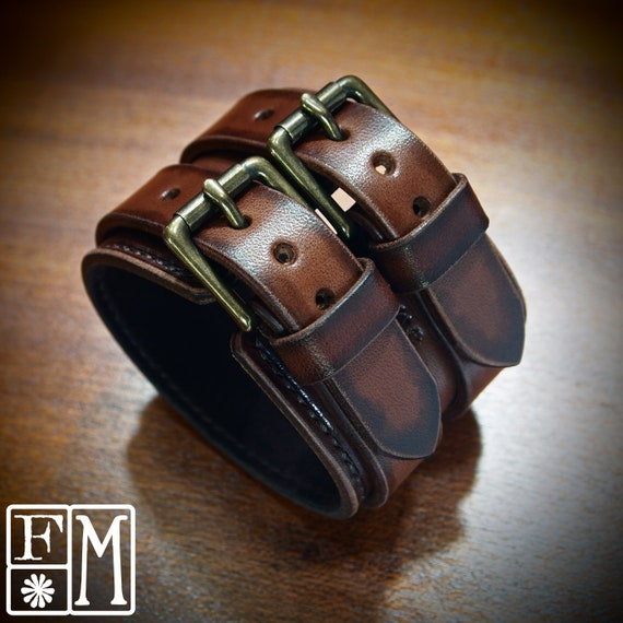 Brown Leather cuff bracelet : Distressed Brown Leather Handstitched suede lined Luxury wristband made for You in USA