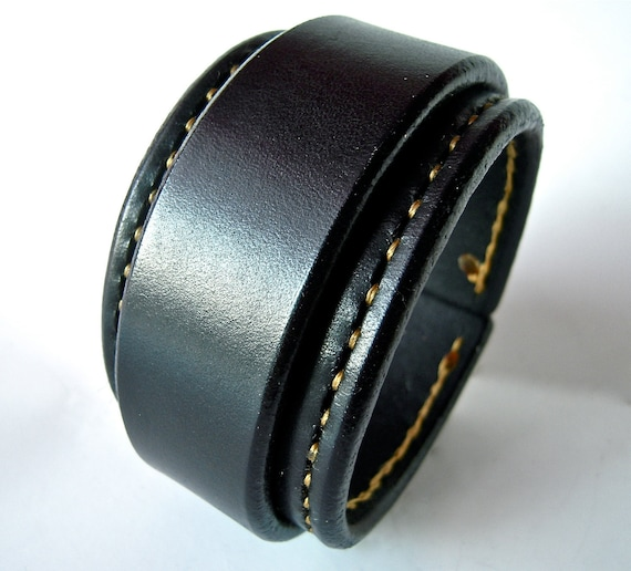 Leather cuff wristband Black Bracelet with Gold stitching handmade for YOU in New York by Freddie Matara