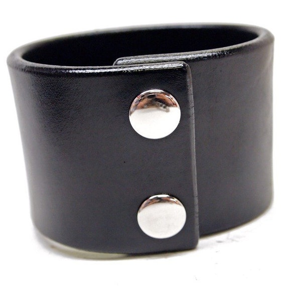 Black leather cuff wristband : 2 inch wide American bridle leather Bracelet Handmade for YOU in New York by Freddie Matara