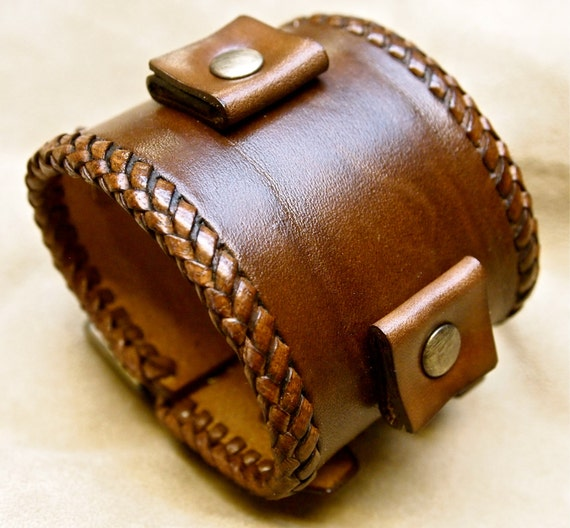 Leather bracelet Brown wristband cuff Vintage Johnny Depp style watchband cuff Best quality Made for YOU in USA by Freddie Matara
