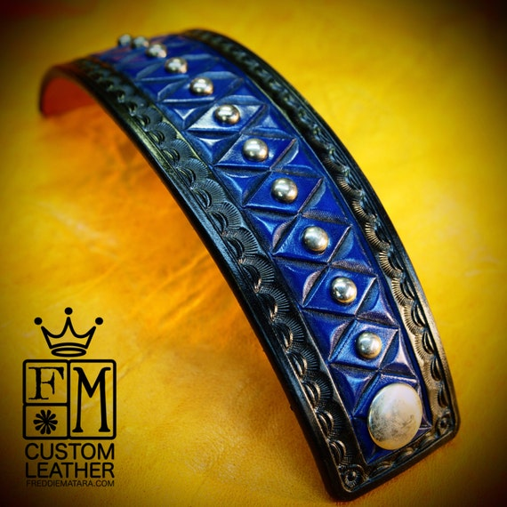 Blue Leather cuff bracelet : American Cowboy King Black and Blue Handcrafted for YOU in USA by Freddie Matara