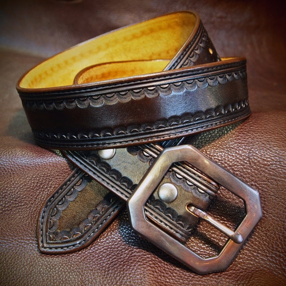 "Brown leather belt Tooled Western border Distressed buckle 1-3/4"" wide handmade for YOU in USA by Freddie Matara"
