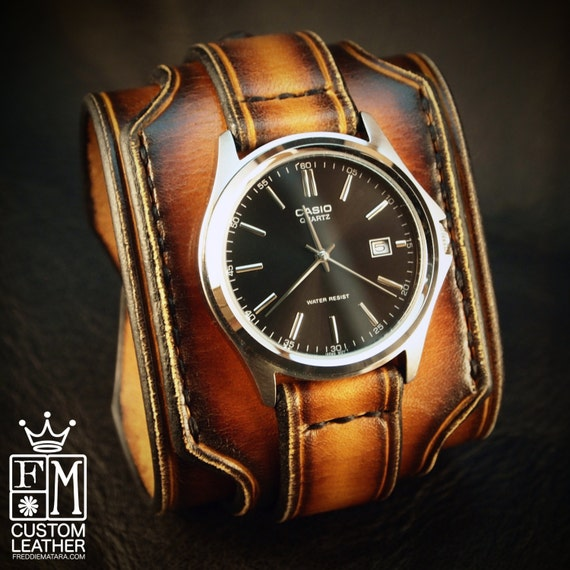 Leather cuff watch Tobacco sunburst wide layered Brown watch band cuff Bracelet  Handmade for YOU in USA by Freddie Matara