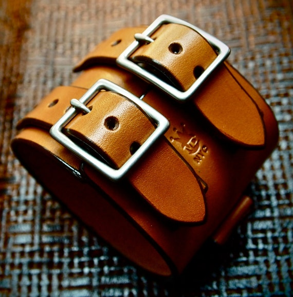 Leather cuff Bracelet watchband Vintage Johnny Depp style wristband Handmade for YOU in New York by Freddie Matara