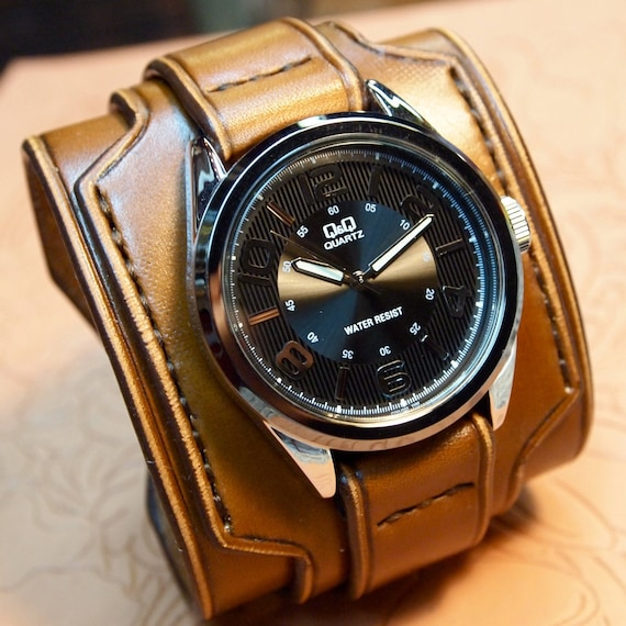 Leather cuff watch Brown leather watchband- Nathan Drake style wide layered Custom made for YOU in USA by Freddie Matara