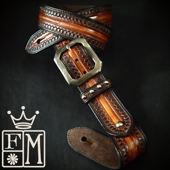 Leather Guitar strap Sunburst Old West Rockstar style Hand tooled, Fine custom Handmade Western style Made for YOU in USA by Freddie Matara