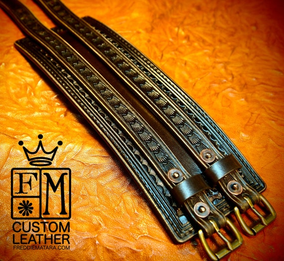 Brown Leather Wrist Cuff : Wide COWBOY ROCKSTAR Traditional American Bracelet. Made in New York!