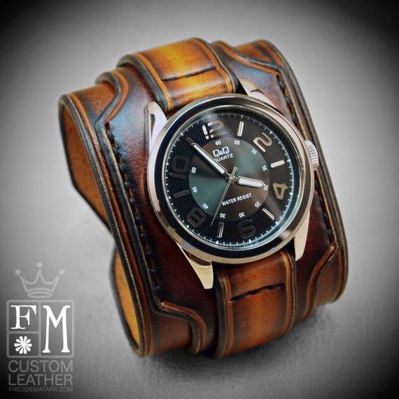 Leather cuff watch Burnt sunburst wide layered Brown watch band cuff Bracelet  Handmade for YOU in USA by Freddie Matara