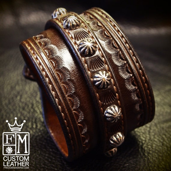 Brown Leather Wrist Cuff : Traditional American Cowboy ROCKSTAR Bracelet!  Handmade for YOU by Freddie Matara!