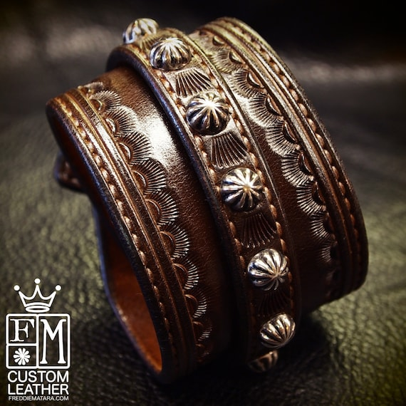 Leather Wrist Cuff BrownTraditional American Cowboy ROCKSTAR Bracelet wristband Handmade for YOU in New York by Freddie Matara!