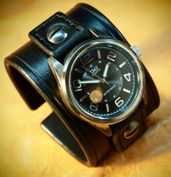 Black Leather cuff Watch : Vintage style Black bridle leather Old school wrist watch! Hand made in New York!