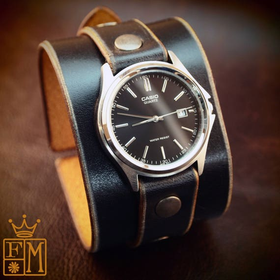 Leather cuff watch Black Unisex vintage style Handmade for YOU in NYC by Freddie Matara!
