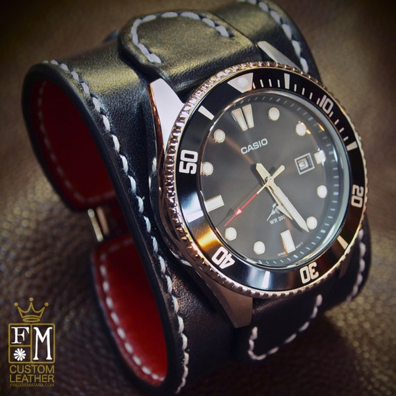 """Leather cuff watch Casio diver watch 2"""" wide Black leather- Red calf lined Custom made for YOU in USA by Freddie Matara"""