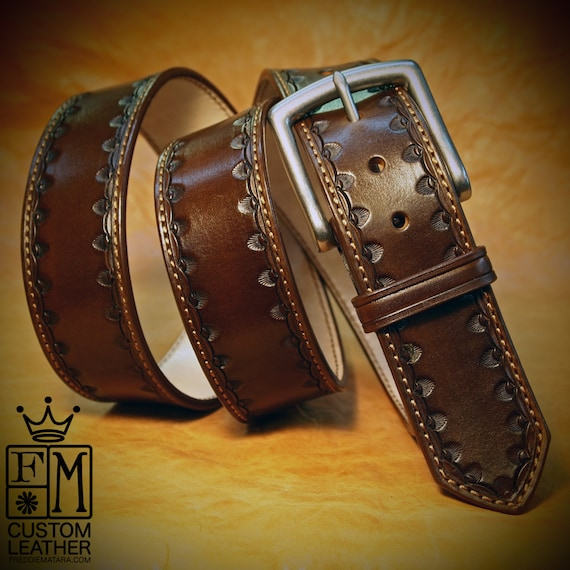 Brown Leather Dress Belt Custom Made Hand stamped vintage look handmade for YOU in New York   by Freddie Matara