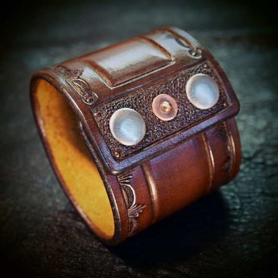 Brown Leather cuff wristband Saddle Brown Cowboy Old West style Stamped and hand tooled for YOU in USA by Freddie Matara!
