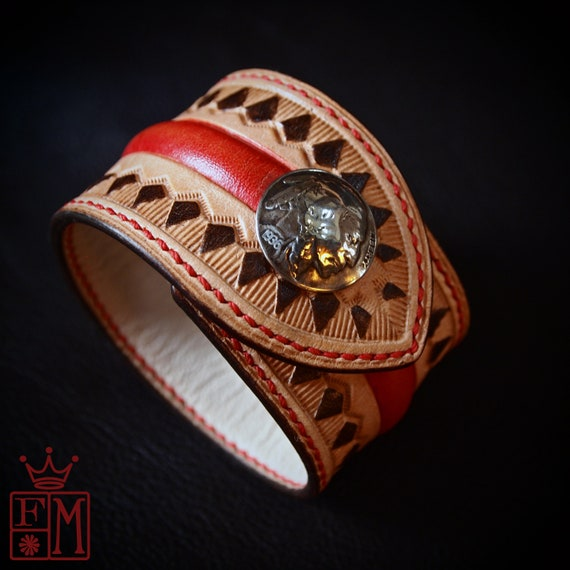 Western design leather cuff : Native Western style Natural vegetable-tanned leather. Handmade in New York!